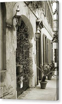 Historic Home Wrought Iron Gate Charleston Sepia Canvas Print by Dustin K Ryan