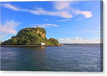 Canvas Print featuring the photograph Historic Lighthouse On Chijin Island by Yali Shi