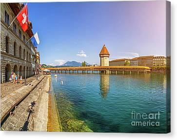 Historic Lucerne Chapel Bridge Canvas Print