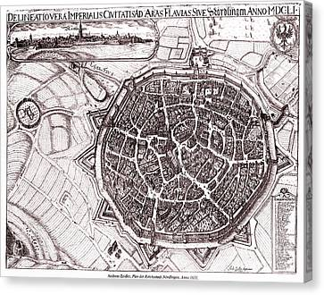 Historic Map Of Nordlingen, Germany In 1651 Canvas Print by Gary Whitton
