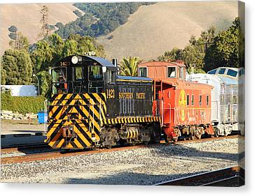 Historic Niles Trains In California . Old Southern Pacific Locomotive And Sante Fe Caboose . 7d10821 Canvas Print by Wingsdomain Art and Photography