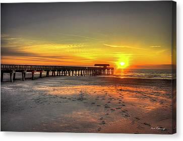 Historic Pier Tybee Island Sunrise Art Canvas Print by Reid Callaway