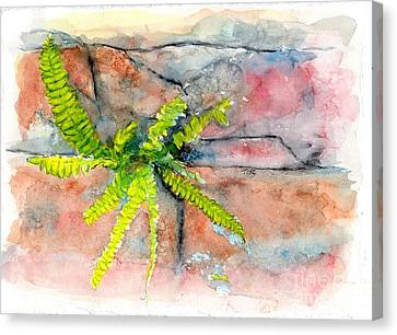 Canvas Print featuring the painting Historic Savannah Wall Weed by Doris Blessington
