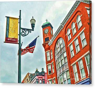 Canvas Print featuring the photograph Historic Staunton Virginia - The Clocktower - Art Of The Small Town by Kerri Farley