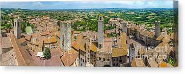 Historic Town Of San Gimignano With Tuscan Countryside, Tuscany, Italy Canvas Print by JR Photography