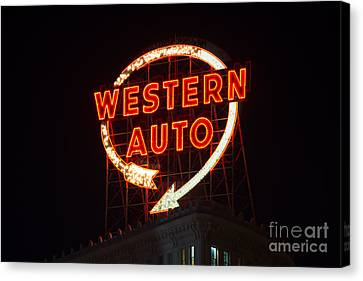 Historic Western Auto Sign Canvas Print by Jean Hutchison