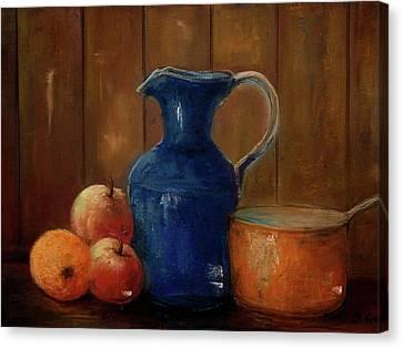 Canvas Print featuring the painting Historical Jamestown Virginia Blue Colbalt Pitcher  by Bernadette Krupa