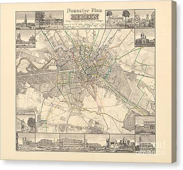 Berlin Canvas Print - Historical Map Of Berlin, 1838 by German School