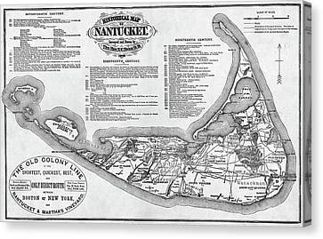 Historical Map Of Nantucket From 1602-1886 Black And White Canvas Print
