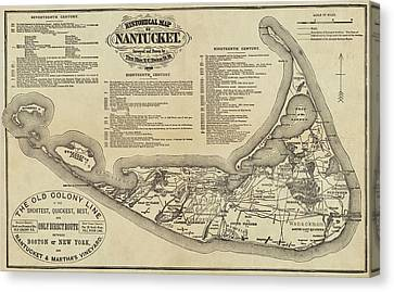 Historical Map Of Nantucket From 1602-1886 Canvas Print
