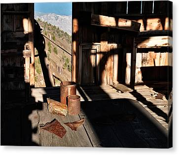 Old Cabins Canvas Print - Historical Settings by Leland D Howard