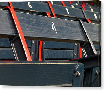 Historical Wood Seating At Boston Fenway Park Canvas Print by Juergen Roth