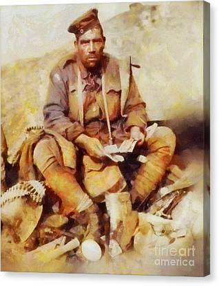History In Color. Australian Soldier Pvt Barney Hines Wwi Canvas Print by Sarah Kirk