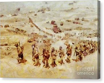 History In Color. D Day, Omaha Beach, Wwii Canvas Print