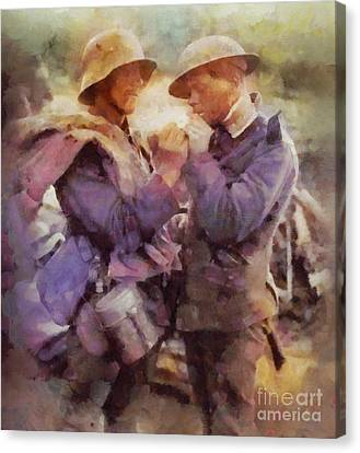 History In Color. Wwi Truce In The Trenches Canvas Print