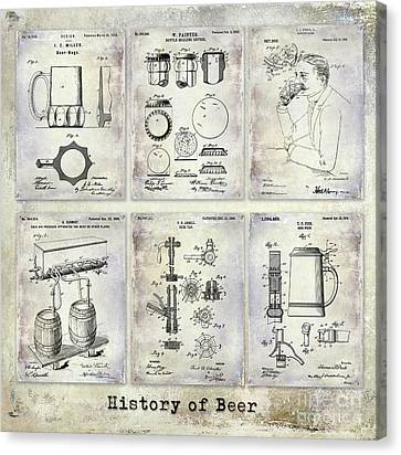 Stein Canvas Print - History Of Beer Patents by Jon Neidert