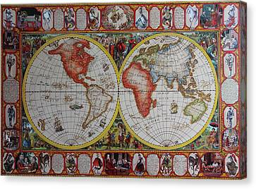 History Of Chess World Map Painted On Leatheder Canvas Print