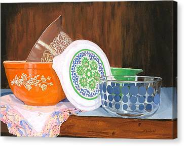 Canvas Print featuring the painting History Of Pyrex by Lynne Reichhart