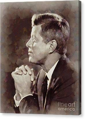 History Portraits. John F. Kennedy, President Of The Usa By Sarah Kirk Canvas Print