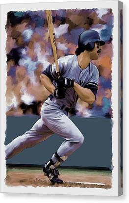 Hit Man  Don Mattingly  Canvas Print by Iconic Images Art Gallery David Pucciarelli