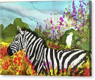 Canvas Print featuring the painting Hitching A Ride by Suzanne Canner