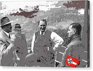 Hitler And Goering At The Berghof Heinrich Hoffman Photo Circa 1940 Color Added 2015 Canvas Print by David Lee Guss