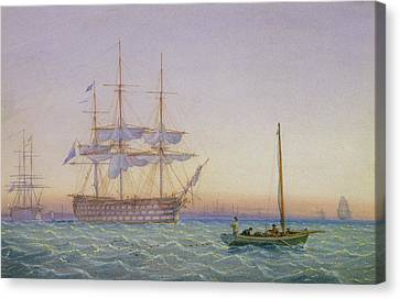 Hm Frigates At Anchor Canvas Print by John Joy
