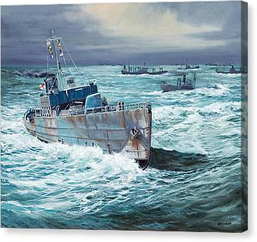 Hms Compass Rose Escorting North Atlantic Convoy Canvas Print by Glenn Secrest