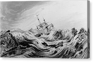 Hms Dorothea Commanded By David Buchan Driven Into Arctic Ice Canvas Print by English School