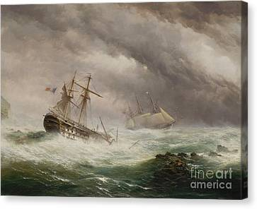 Hms Endymion Rescuing A French Canvas Print by MotionAge Designs
