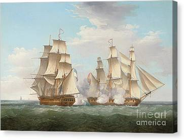 Hms Ethalion In Action With The Spanish Frigate Thetis Off Cape Finisterre Canvas Print by Thomas Whitcombe