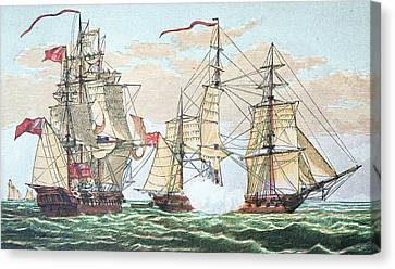 Hms Shannon Vs The American Chesapeake Canvas Print by American School
