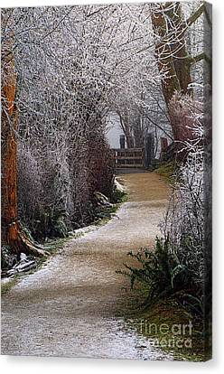 Hoar Frost On The Kanaka Creek Riverfront Trail Canvas Print by Sharon Talson