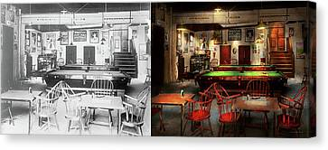 Canvas Print featuring the photograph Hobby - Pool - The Billiards Club 1915 - Side By Side by Mike Savad