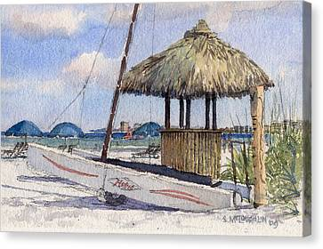 Hobie And Tiki On Crescent Beach Canvas Print by Shawn McLoughlin