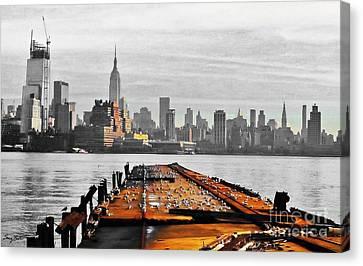 Newyorkcity Canvas Print - Hoboken Pier by Stacey Brooks