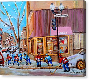 Hockey At Beautys Deli Canvas Print by Carole Spandau