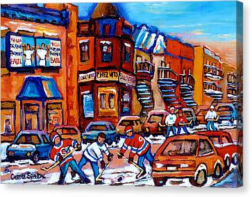 Hockey At Fairmount Bagel Canvas Print by Carole Spandau