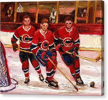 Hockey At The Forum Canvas Print by Carole Spandau
