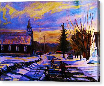Hockey Game In The Village Canvas Print by Carole Spandau