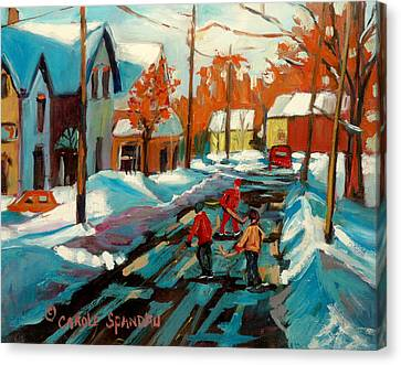 Hockey Game In Ville St Laurent Montreal Streetscenes Canvas Print by Carole Spandau