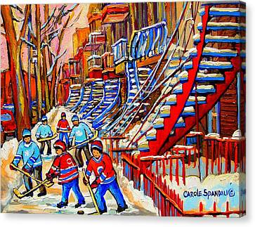 Montreal Winter Scenes Canvas Print - Hockey Game Near The Red Staircase by Carole Spandau