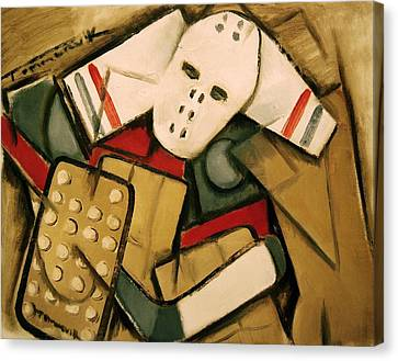 Synthetic Cubism Hockey Goalie Art Print Canvas Print by Tommervik