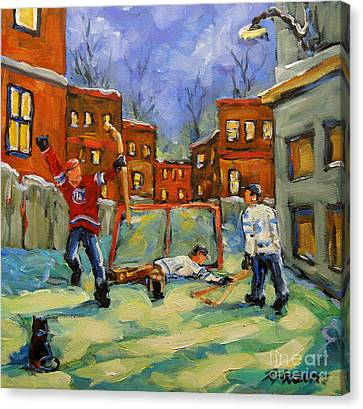Hockey Kids He Scores Canvas Print by Richard T Pranke