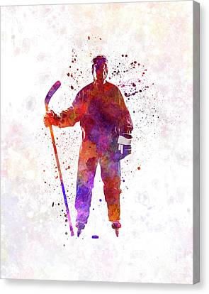 Hockey Canvas Print - Hockey Man Player 01 In Watercolor by Pablo Romero