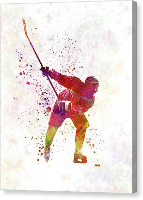 Hockey Canvas Print - Hockey Man Player 02 In Watercolor by Pablo Romero