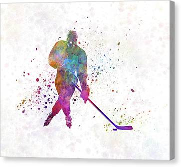 Hockey Canvas Print - Hockey Man Player 03 In Watercolor by Pablo Romero