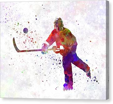 Hockey Canvas Print - Hockey Man Player 04 In Watercolor by Pablo Romero
