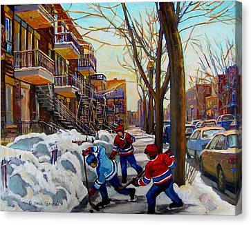 Montreal Winter Scenes Canvas Print - Hockey On De Bullion  by Carole Spandau
