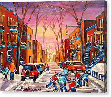 Montreal Winter Scenes Canvas Print - Hockey On Hotel De Ville Street by Carole Spandau